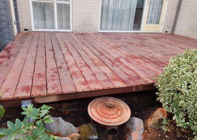 houten terras met fundering
